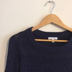 Blue and bronze metallic knit sweater from delias